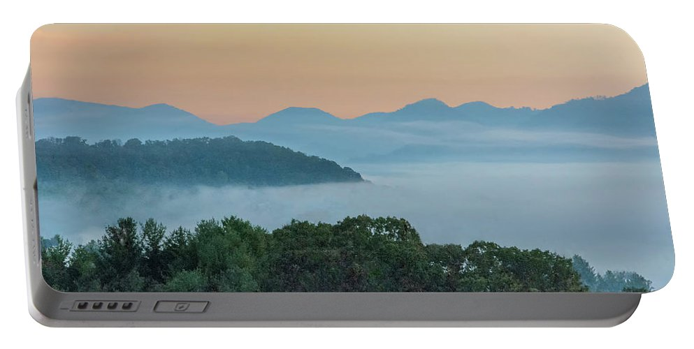 Fog Portable Battery Charger featuring the photograph Dawn In The Smokies by Mitch Spence