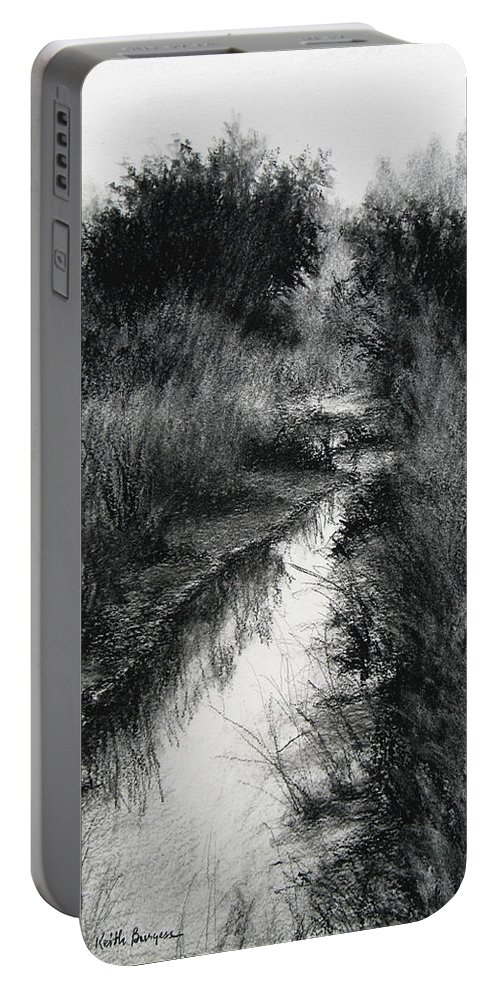 Charcoal Portable Battery Charger featuring the drawing Dawn Marsh by Keith Burgess