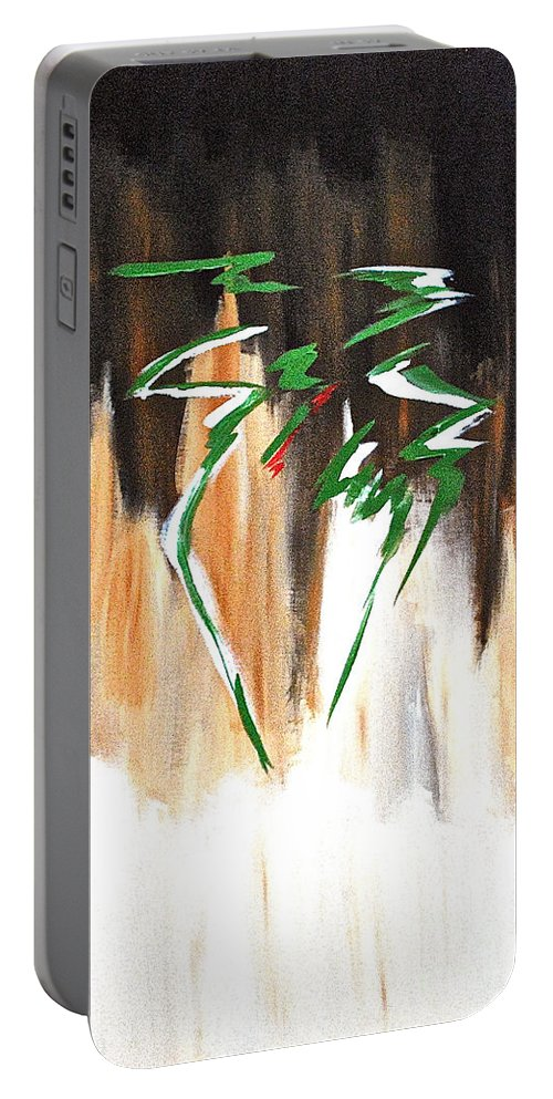 Abstract By Herschel Fall Portable Battery Charger featuring the painting Dawn Of An New Day by Herschel Fall