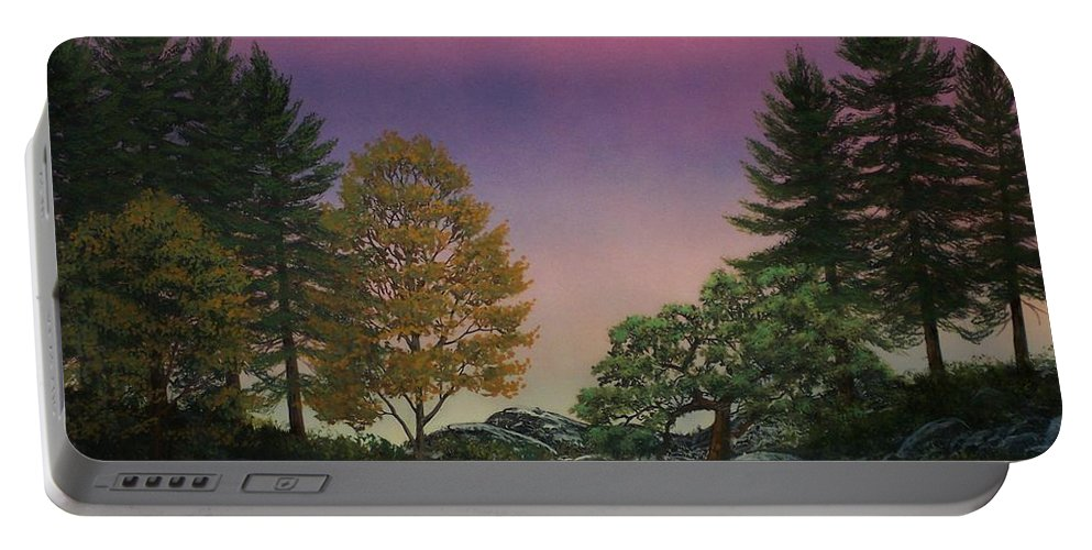 Mountains Portable Battery Charger featuring the painting Dawn Of Day by Frank Wilson
