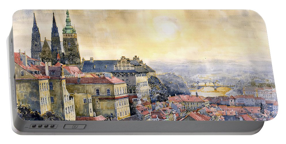 Watercolor Portable Battery Charger featuring the painting Dawn Of Prague by Yuriy Shevchuk