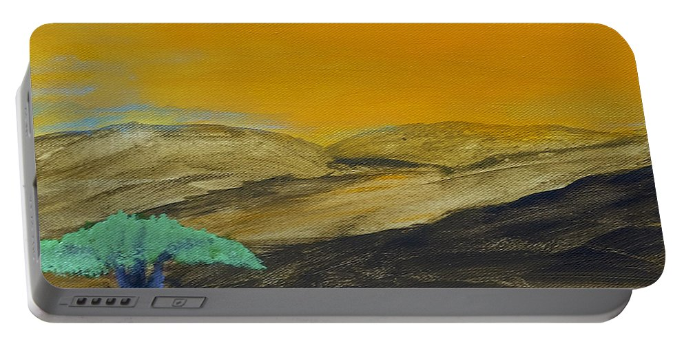 Savannah Portable Battery Charger featuring the painting Dawn On The Savannah by Dick Bourgault