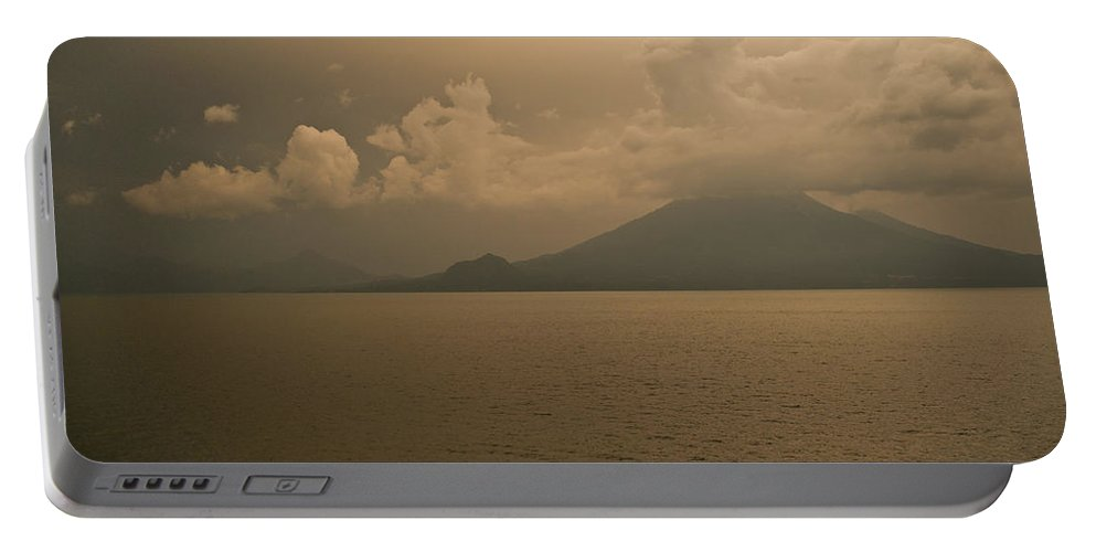 Dawn Portable Battery Charger featuring the photograph Dawn Over The Volcano by Douglas Barnett