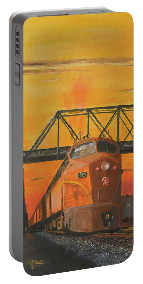 Train Portable Battery Charger featuring the painting Dawn Patrol by Christopher Jenkins
