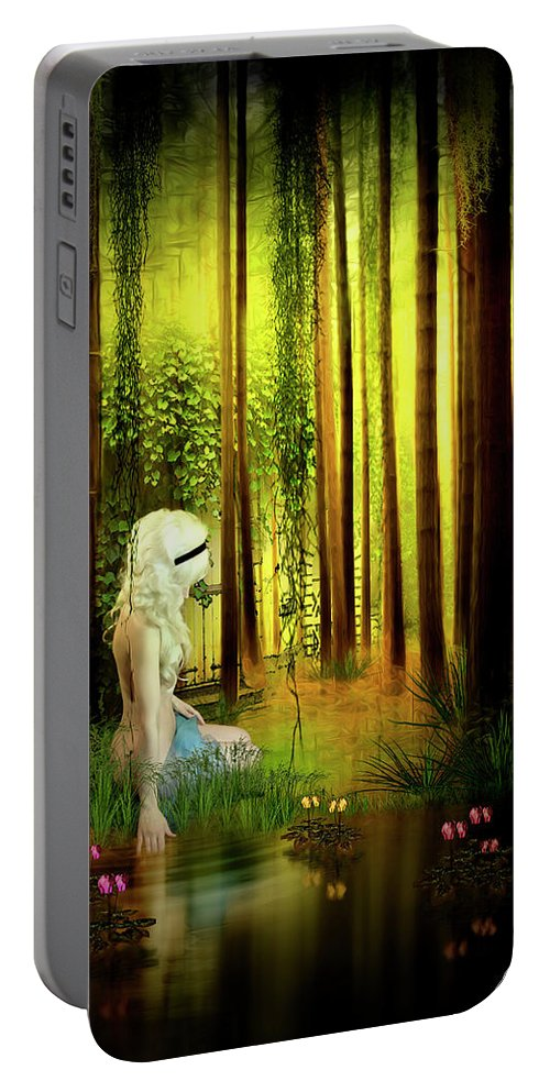 Forest Portable Battery Charger featuring the digital art Dawn Refresh by Svetlana Sewell