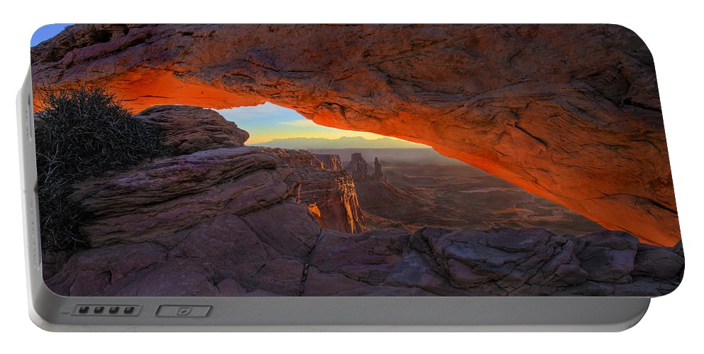 Mesa Arch Portable Battery Charger featuring the photograph Dawns Early Light by Mike Dawson