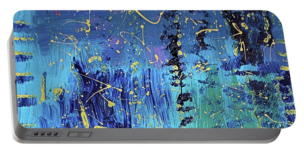 Blue Portable Battery Charger featuring the painting Day Light Saving Time by Pam Roth O'Mara