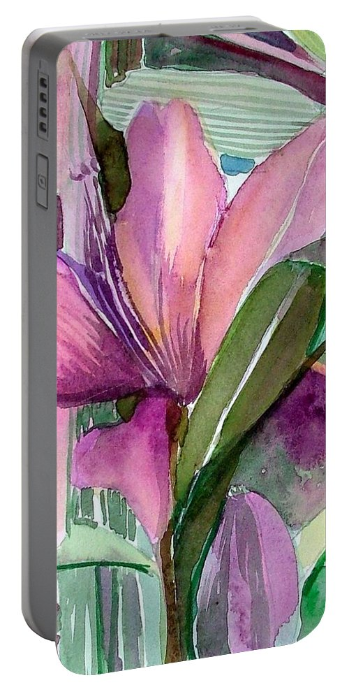 Flower Portable Battery Charger featuring the painting Day Lily Pink by Mindy Newman