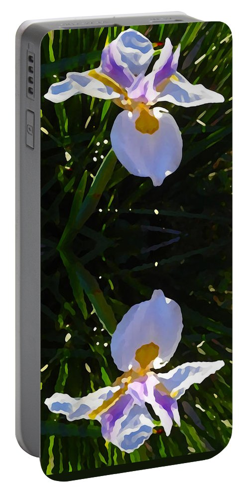 Daylily Portable Battery Charger featuring the painting Day Lily Reflection by Amy Vangsgard