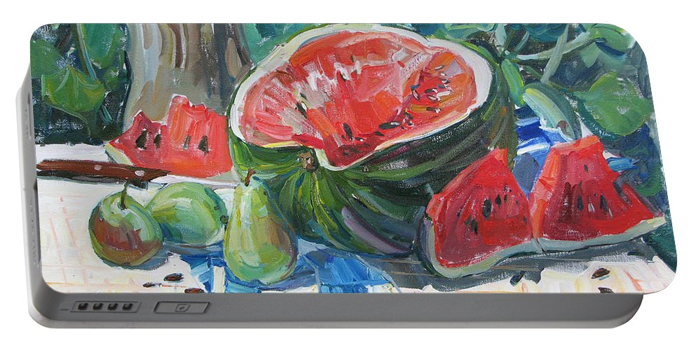 Summer Still-life Portable Battery Charger featuring the painting Day Of A Water-melon by Juliya Zhukova