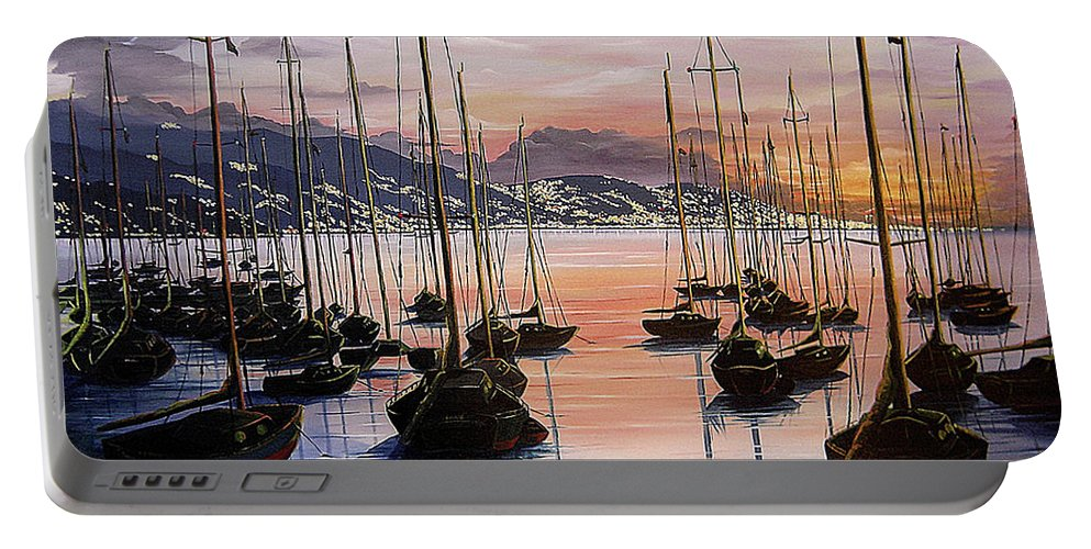 Seascape Painting Yacht Painting Harbour Painting Port Of Spain Trinidad And Tobago Painting Caribbean Painting Tropical Seascape Yachts  Painting Boats Dawn Breaking Greeting Card Painting Portable Battery Charger featuring the painting Daybreak by Karin Dawn Kelshall- Best