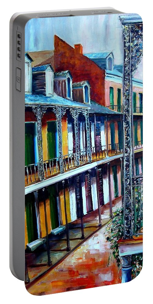 New Orleans Portable Battery Charger featuring the painting Daybreak On St. Ann Street by Diane Millsap