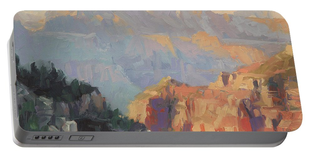 Grand Canyon Portable Battery Charger featuring the painting Daybreak by Steve Henderson