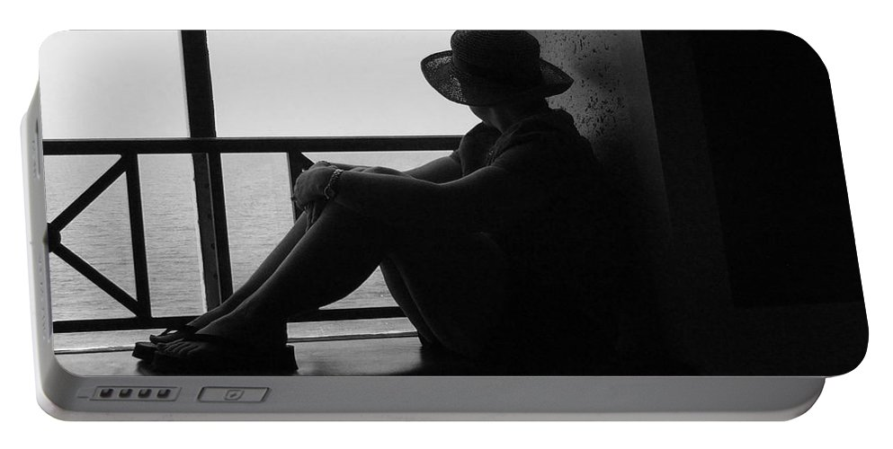 Black And White Portable Battery Charger featuring the photograph Daydreaming by Robert Meanor