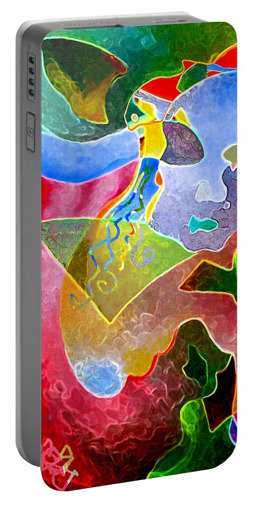 Coffee Portable Battery Charger featuring the painting Daydreams by Sally Trace