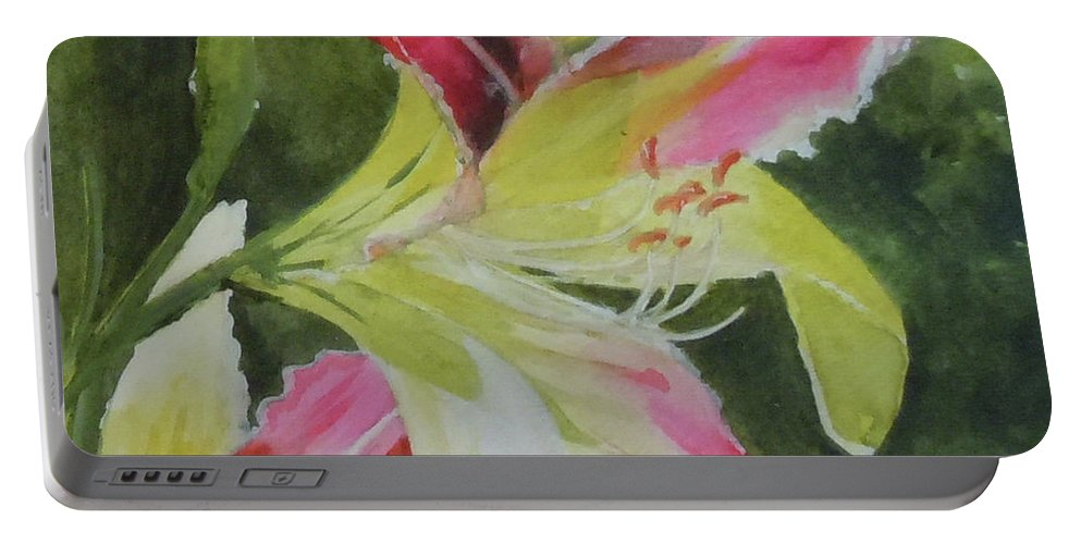 Daylily Portable Battery Charger featuring the painting Daylily Study 1 by Jean Blackmer