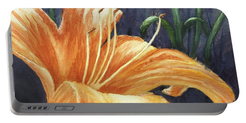 Flower Portable Battery Charger featuring the painting Daylily by Todd Blanchard