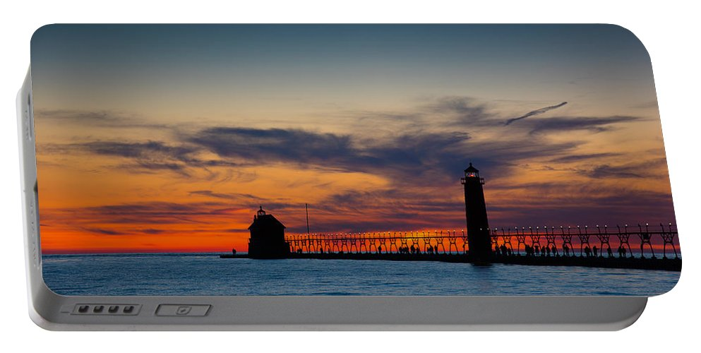 Grand Haven Portable Battery Charger featuring the photograph Days End by Michael Tucker