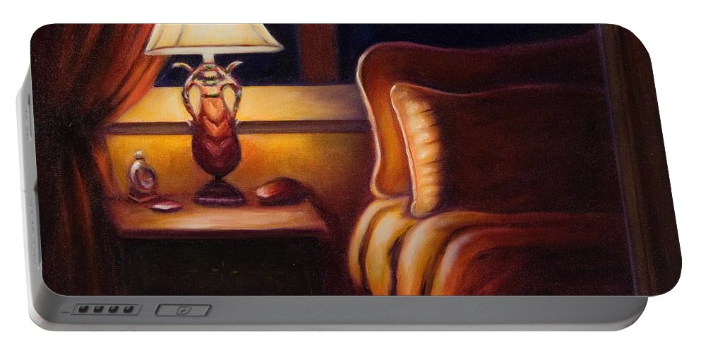 Still Life Portable Battery Charger featuring the painting Days End by Shannon Grissom
