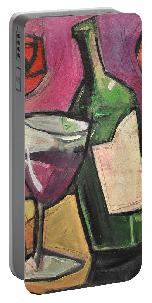 Wine Portable Battery Charger featuring the painting Days Of Wine And Roses by Tim Nyberg