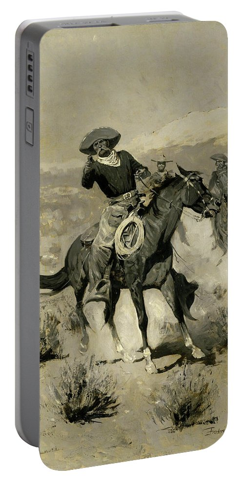 Range Portable Battery Charger featuring the painting Days On The Range by Frederic Sackrider Remington