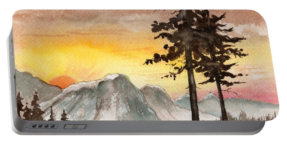 Landscape Portable Battery Charger featuring the painting Day's Passing by Brenda Owen