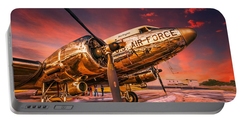 Aircraft Portable Battery Charger featuring the photograph Dc-3 In Surreal Evening Light by Philip Rispin
