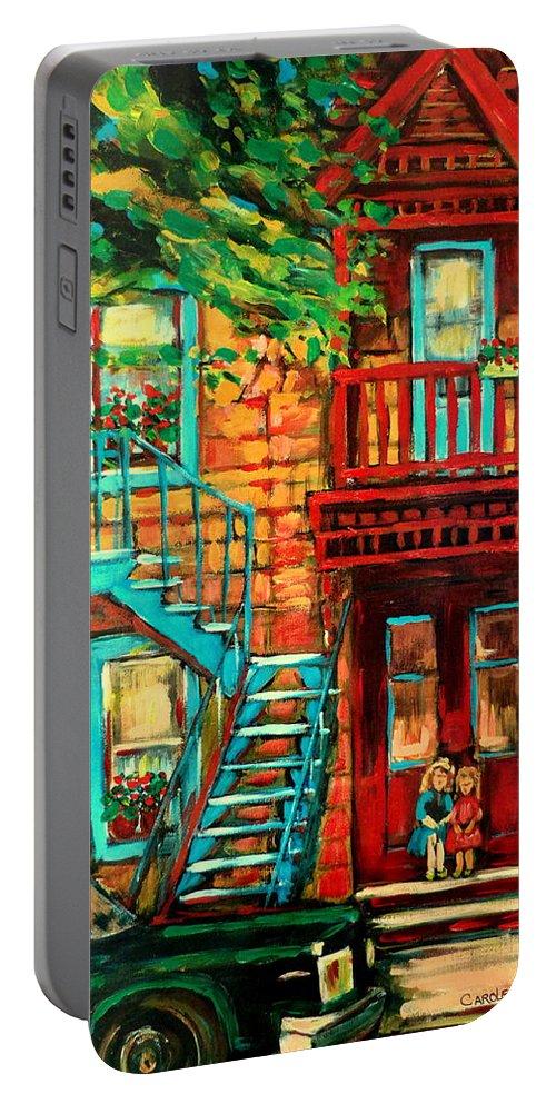 De Bullion Street Portable Battery Charger featuring the painting De Bullion Street Girls by Carole Spandau