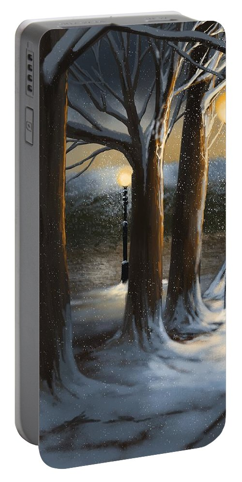 Night Portable Battery Charger featuring the painting Dead Of Night by Veronica Minozzi