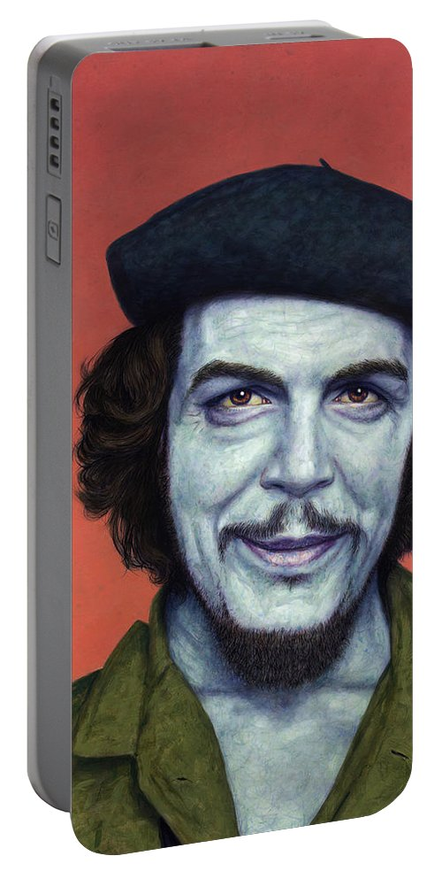 Che Portable Battery Charger featuring the painting Dead Red - Che by James W Johnson