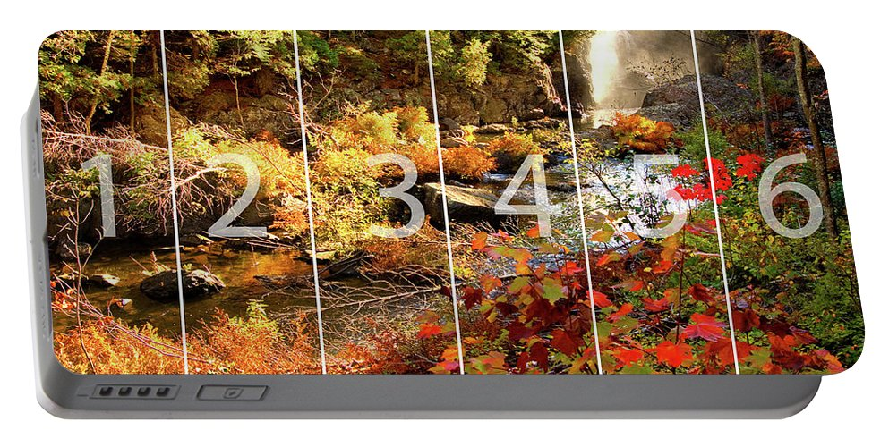 Dead River Falls Portable Battery Charger featuring the mixed media Dead River Falls Marquette Michigan Panoramic Map by Michael Bessler