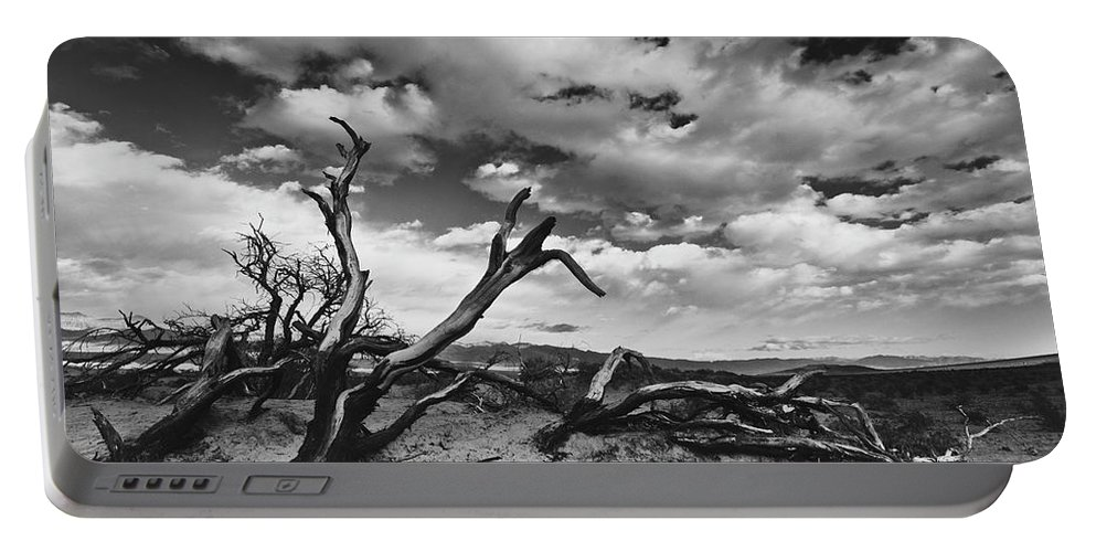 Landscape Portable Battery Charger featuring the photograph Dead Trees at Mesquite Dunes by Nathan Spotts