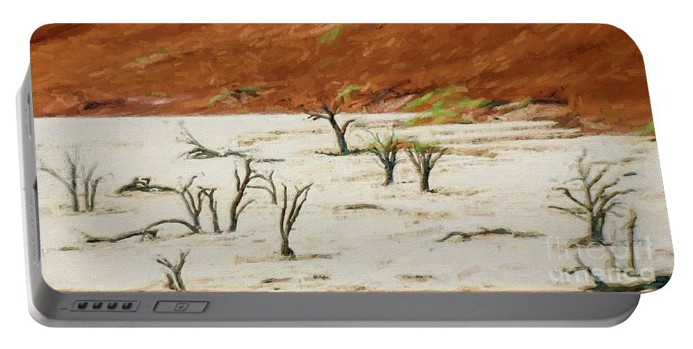 Dead Vlei Portable Battery Charger featuring the photograph Dead Vlei Namibia by Liz Leyden