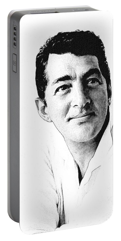 Celebrity Portable Battery Charger featuring the drawing Dean Martin 04 by Dean Wittle
