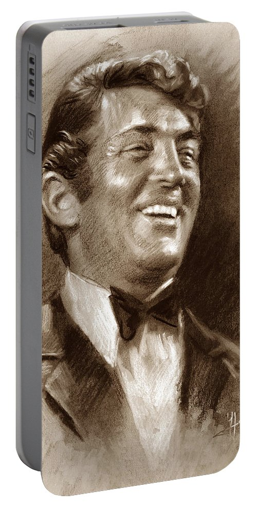 Dean Martin Portable Battery Charger featuring the pastel Dean Martin Br by Ylli Haruni