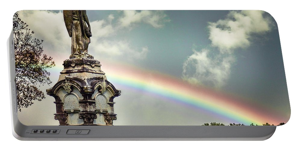 Mount Olivet Portable Battery Charger featuring the photograph Death And A Rainbow by Diana Powell