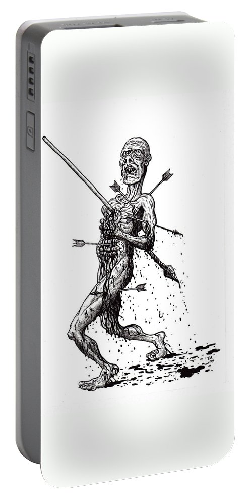 Dark Portable Battery Charger featuring the drawing Death March by Tobey Anderson