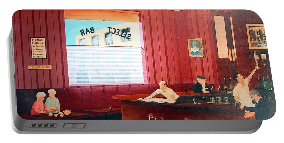 Pub Portable Battery Charger featuring the painting Death Of A Culture by Tony Gunning
