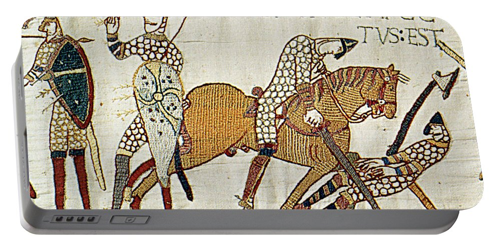 History Portable Battery Charger featuring the photograph Death Of Harold, Bayeux Tapestry by Photo Researchers