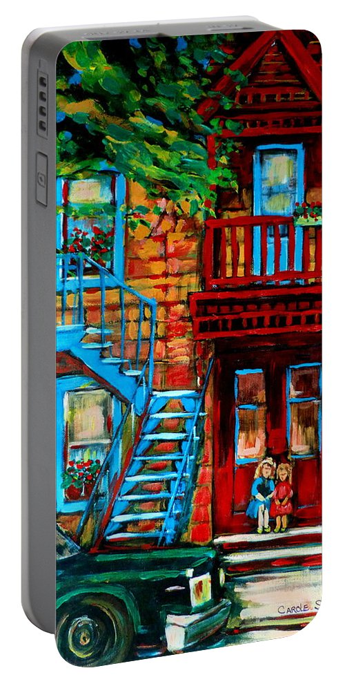 Montreal Streetscenes Portable Battery Charger featuring the painting Debullion Street Neighbors by Carole Spandau