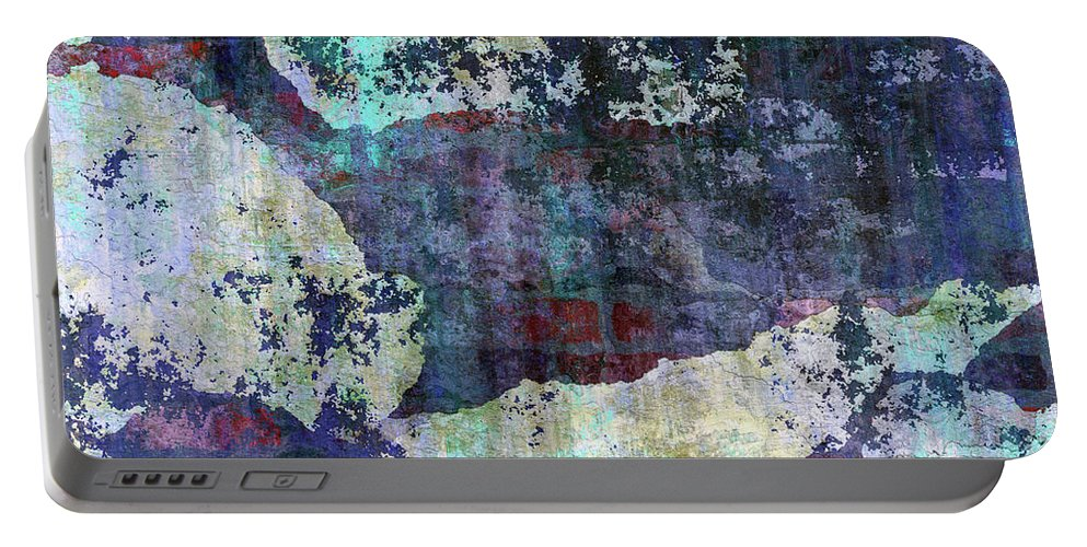 Decadent Urban White Splashed Portable Battery Charger featuring the mixed media Decadent Urban White Splashed Bricks Grunge Abstract by Georgiana Romanovna