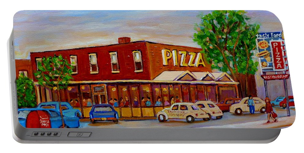 Tasty Food Pizza Portable Battery Charger featuring the painting Decarie Tasty Food Pizza by Carole Spandau