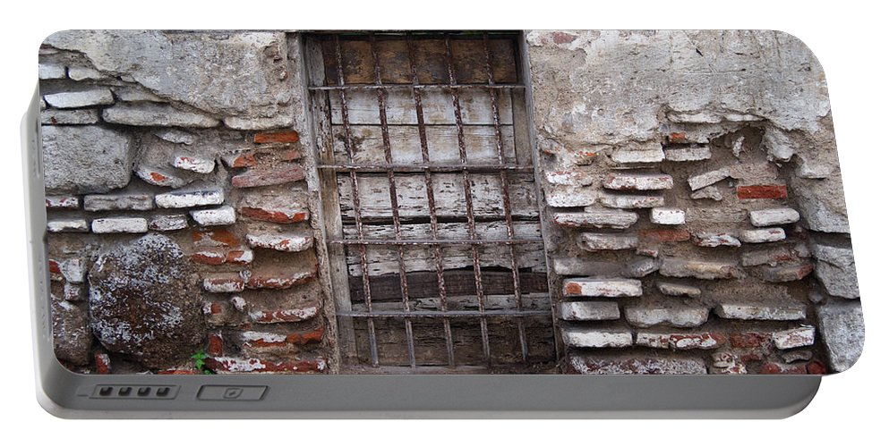 Decaying Portable Battery Charger featuring the photograph Decaying Wall And Window Antigua Guatemala 2 by Douglas Barnett