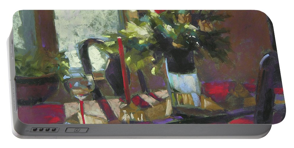 Christmas Portable Battery Charger featuring the painting December Morning Light by Mary McInnis