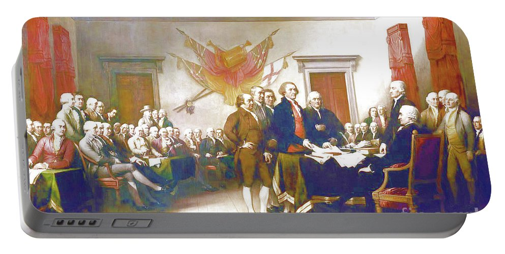 Declaration Of Independence Portable Battery Charger featuring the painting Declaration Of Independence by D Fessenden