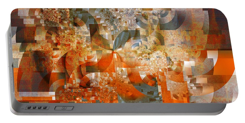Fractal Portable Battery Charger featuring the digital art Deco Bubbles by Richard Ortolano