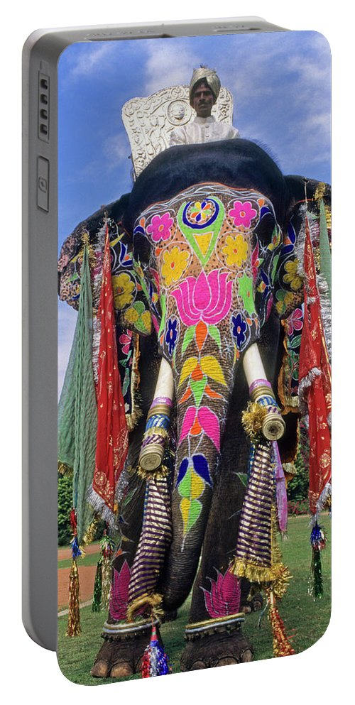 Asia Portable Battery Charger featuring the photograph Decorated Indian Elephant by Michele Burgess