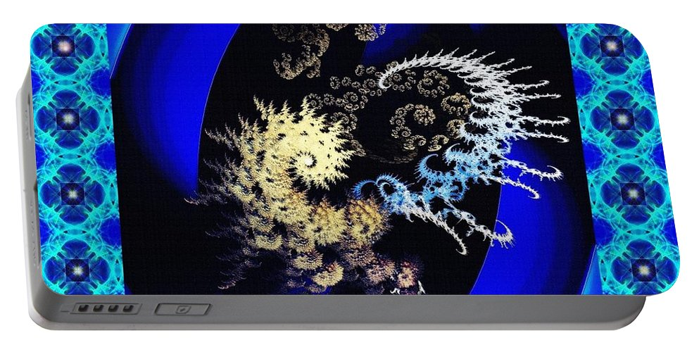 Spiral Portable Battery Charger featuring the digital art Decorative Fractal Tile 3 by Sarah Loft