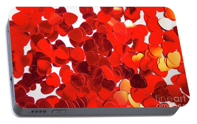 Confetti Portable Battery Charger featuring the photograph Decorative Heart Background by Jorgo Photography - Wall Art Gallery