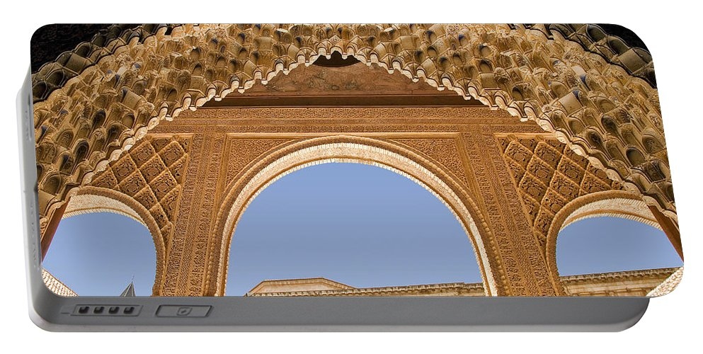 Architecture Portable Battery Charger featuring the photograph Decorative Moorish Architecture In The Nasrid Palaces At The Alhambra Granada Spain by Mal Bray